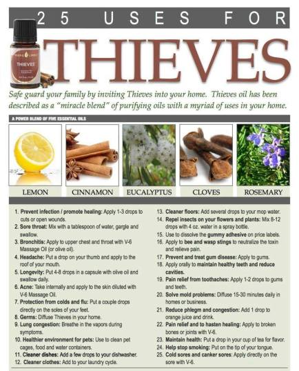 25 uses for thieves essential olis from young living essentials